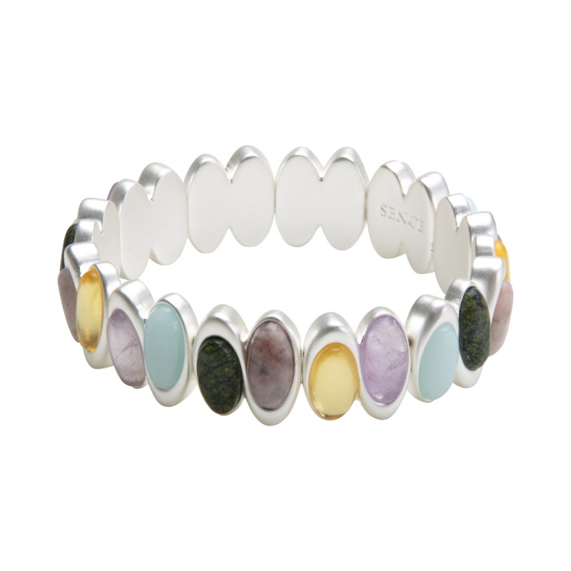Aurora bracelet with natural stones in silver