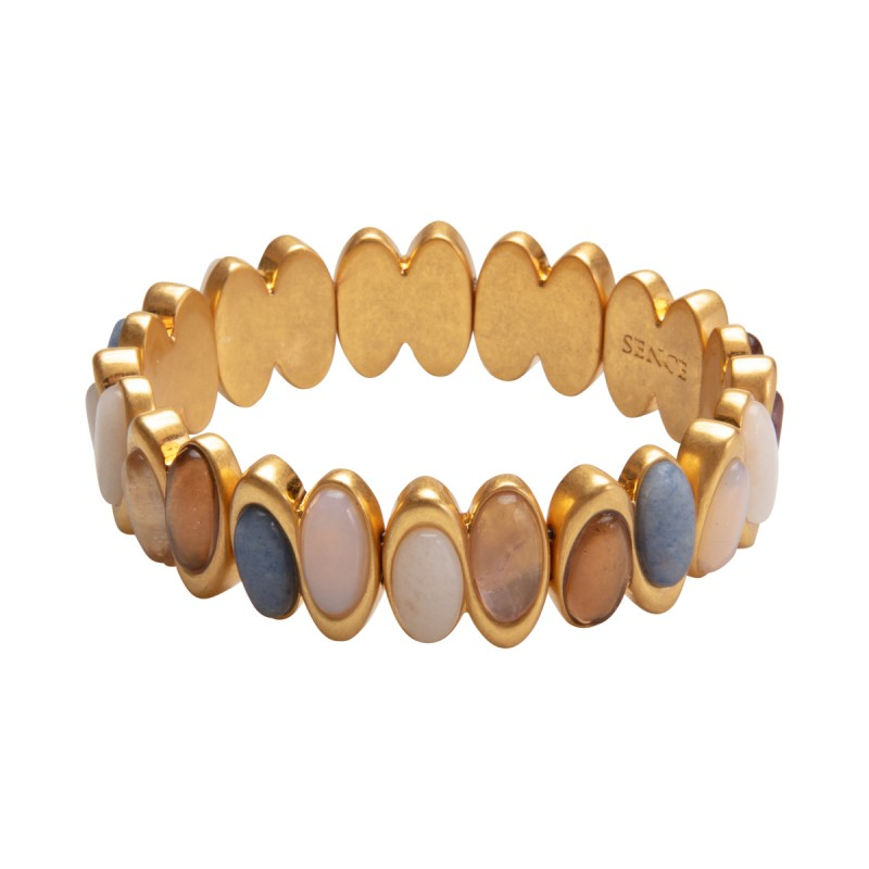 Aurora bracelet with natural stones in gold