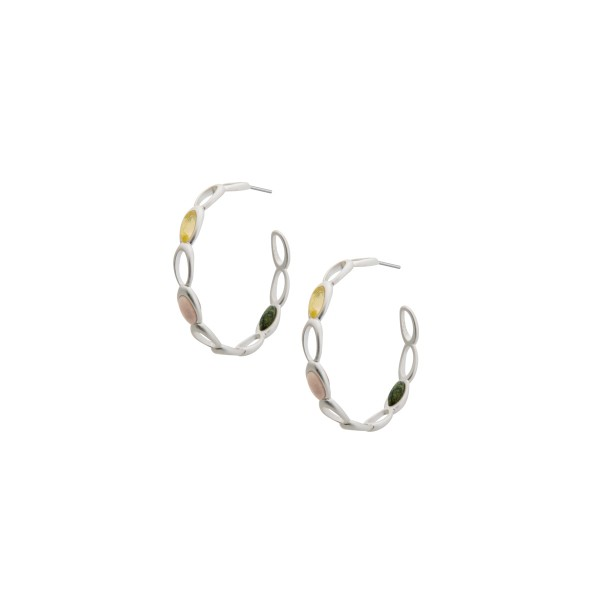 Aurora hoop earrings with natural stones in silver