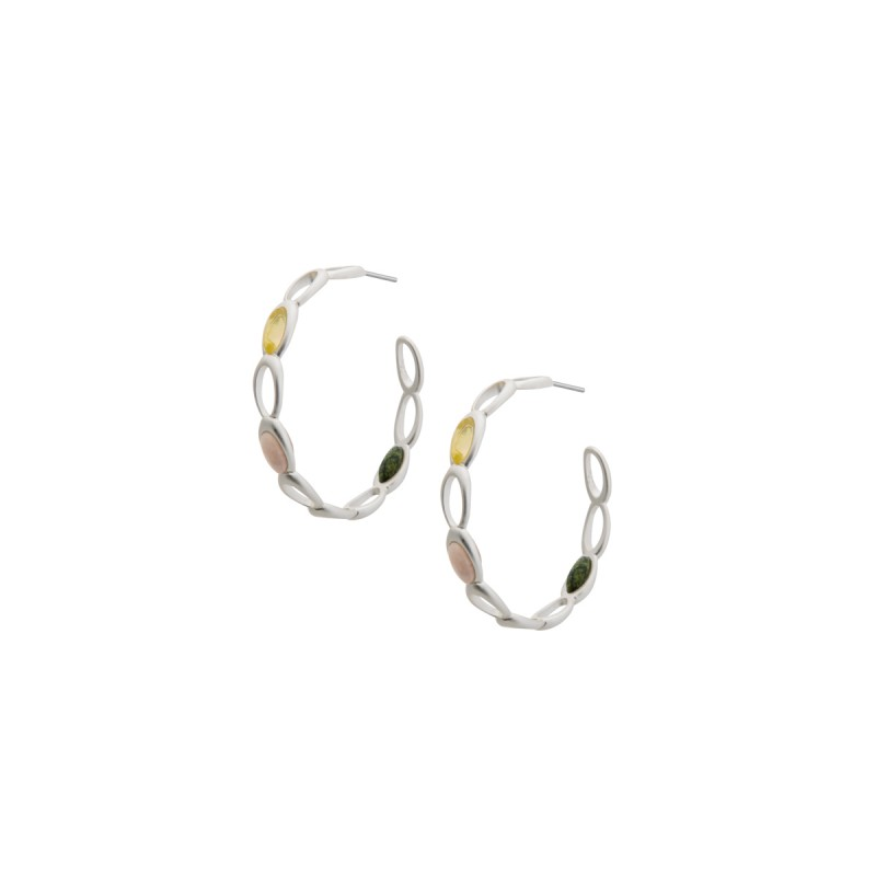 Aurora hoop earrings with natural stones in silver