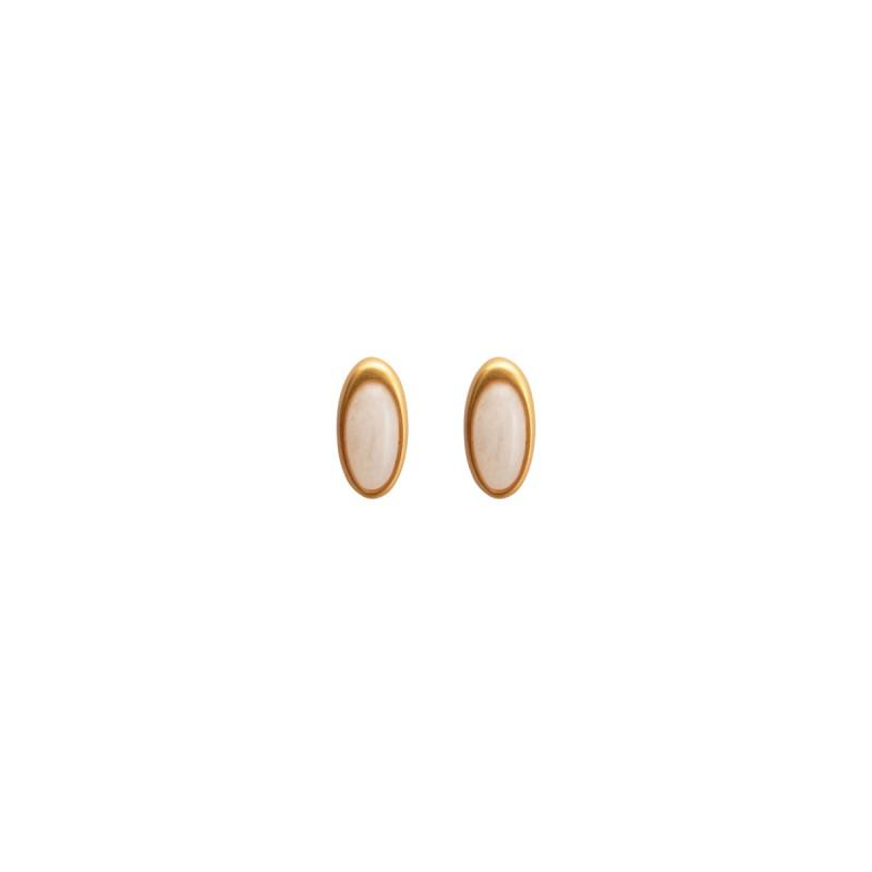 Aurora everyday stud earrings with white jade