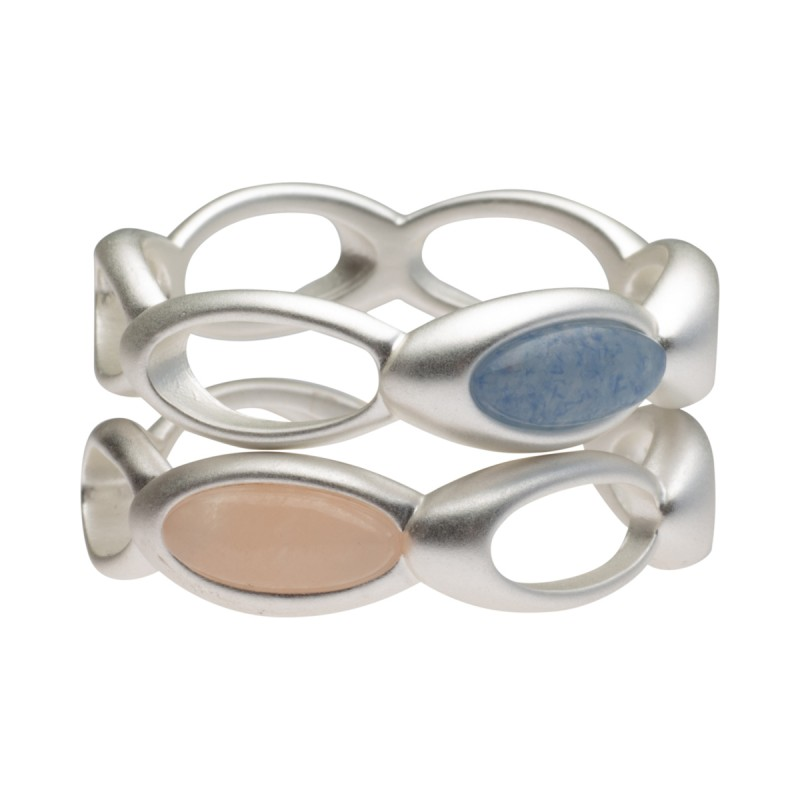 Aurora stacked ring with blue quartz & pink opal 8