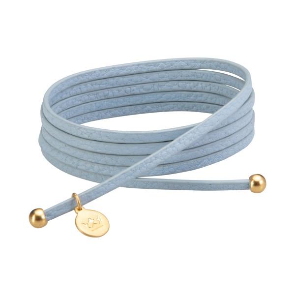 Bohemian Dream 3-pack leather wrap bracelets in baby boy blue matt gold