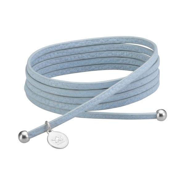 Bohemian Dream 3-pack leather wrap bracelets in baby boy blue matt silver