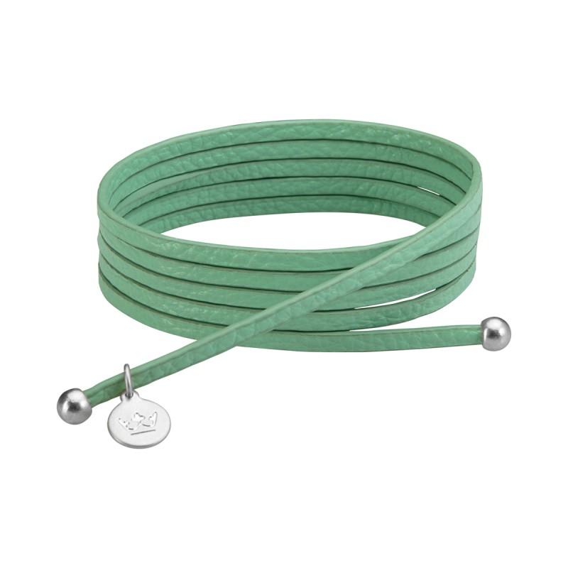 Bohemian Dream 3-pack leather wrap bracelets in new grass matt silver