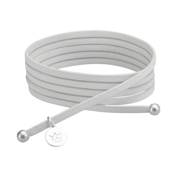 Bohemian Dream 3-pack leather wrap bracelets in white china matt silver