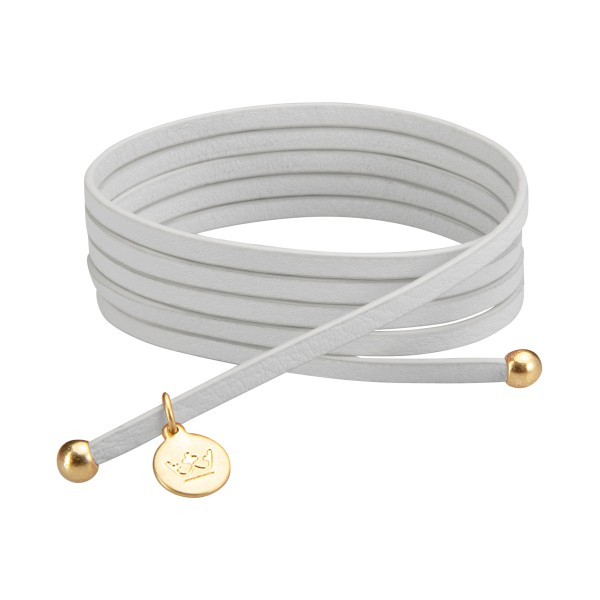 Bohemian Dream 3-pack leather wrap bracelets in white china matt gold