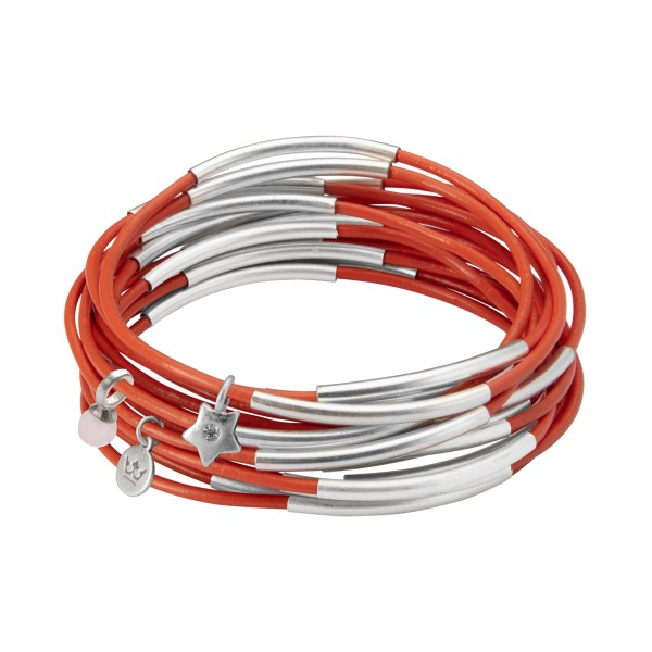 UG stack bracelet in in matt silver and modern ruby leather