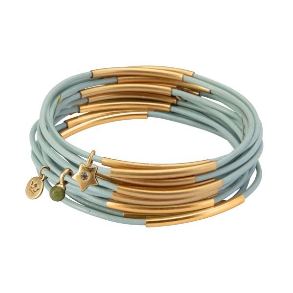 UG stack bracelet in baby boy blue matt gold