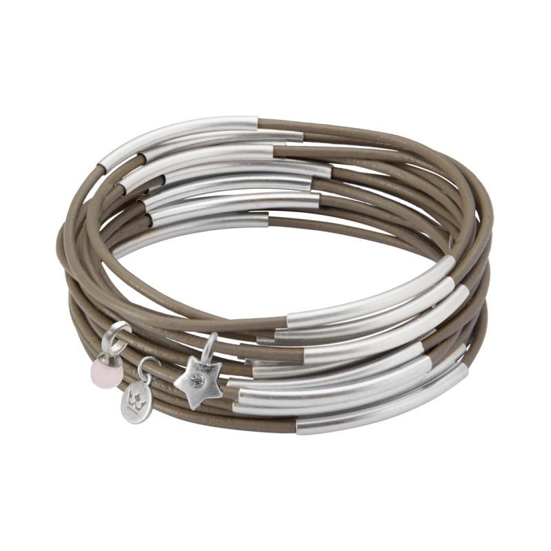 UG stack bracelet in earnest grey matt silver