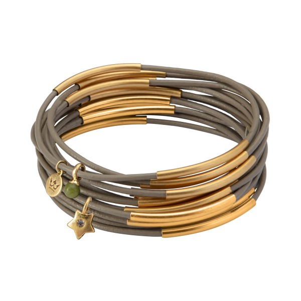 UG stack bracelet in earnest grey matt gold