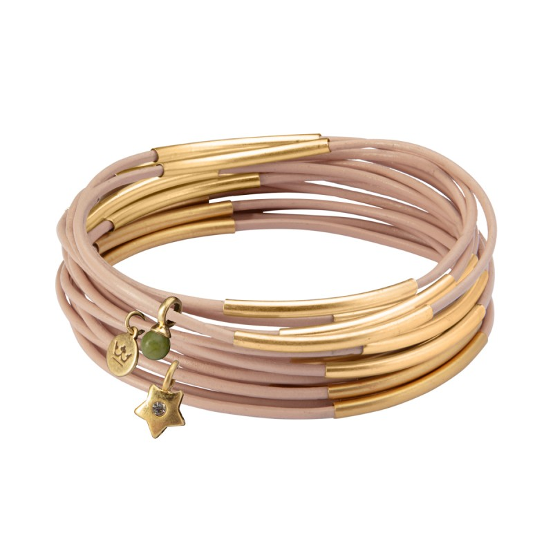 UG stack bracelet in rose petal matt gold