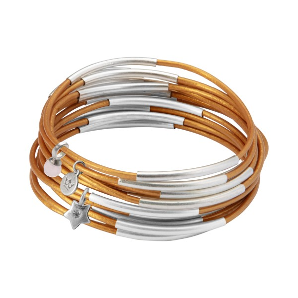 UG stack bracelet in gold rush matt silver