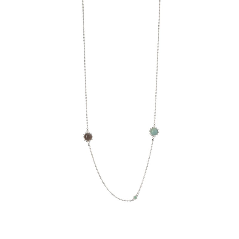 Ombre long necklace w. grey agate, amazonite