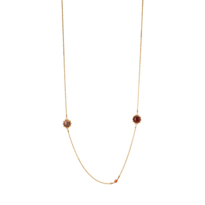 Ombre long necklace w. pink opal, red agate