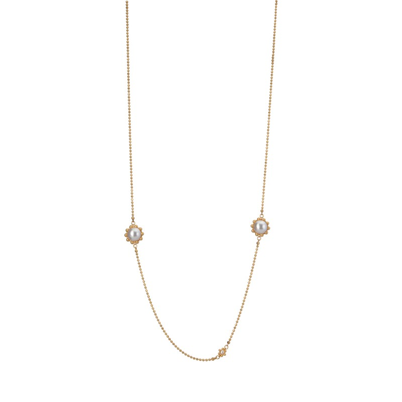 Ombre long necklace w. freshwater pearls in gold