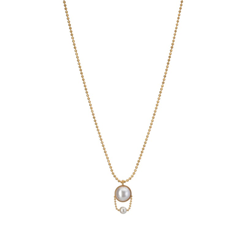 Ombre short necklace with pearls