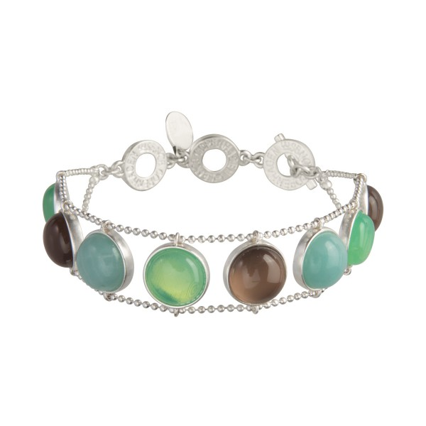 Ombre bracelet w. grey agate, amazonite