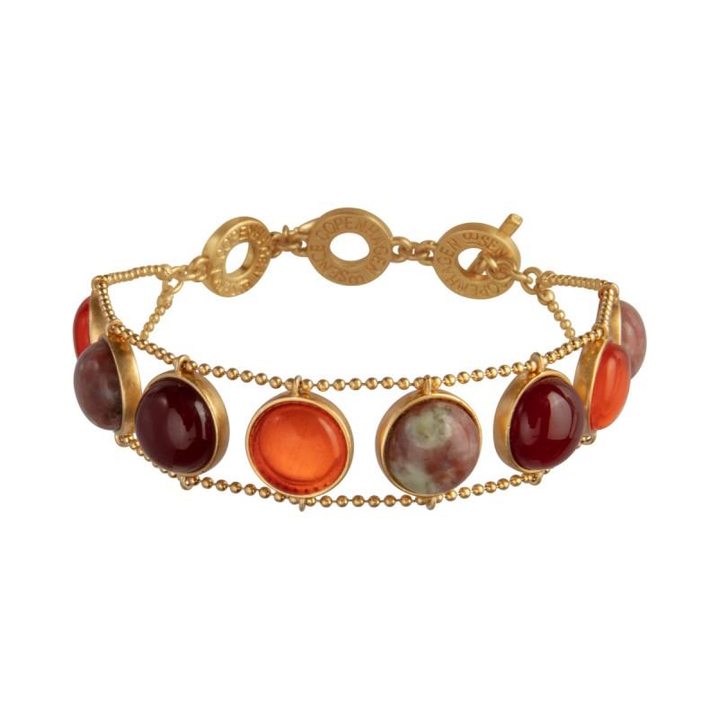 Ombre bracelet w. pink opal, red agate