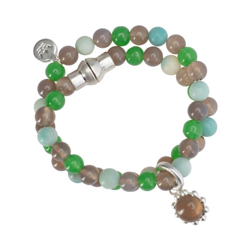 Ombre bangle bracelet w.grey agate, amazonite