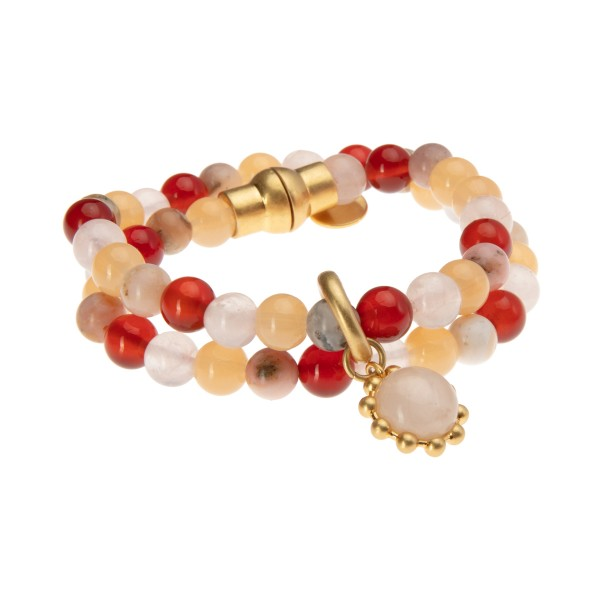 Ombre bangle bracelet w. pink opal, rose quartz