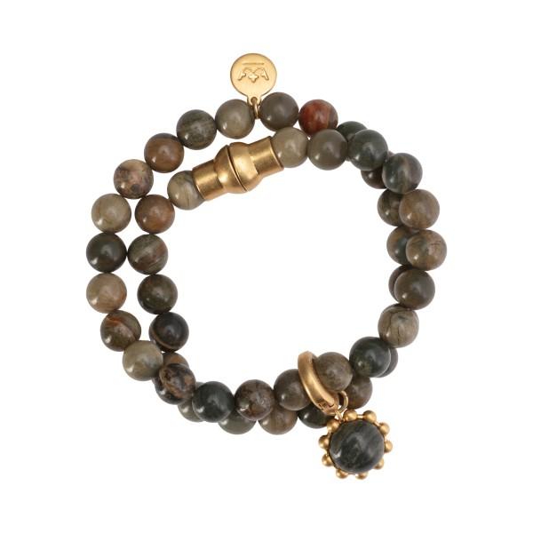 Ombre bangle bracelet w.silver leaf jasper in gold