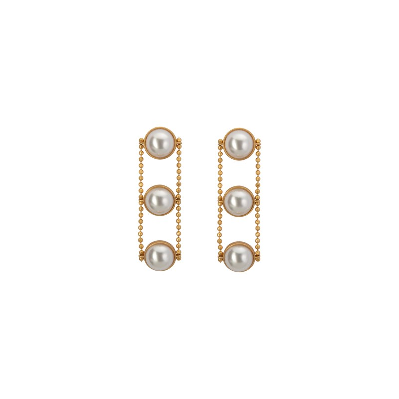 Ombre long earrings with pearls in gold