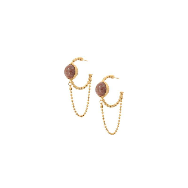 Ombre hoop earrings with pink opal in gold
