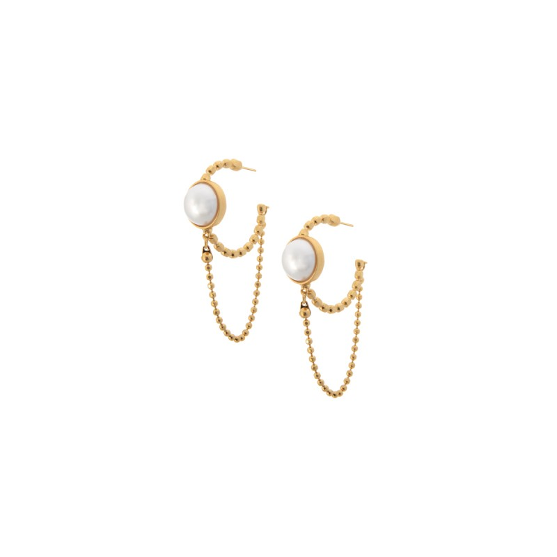 Ombre hoop earrings with pearls in gold
