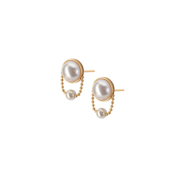 Ombre earring with pearls in gold