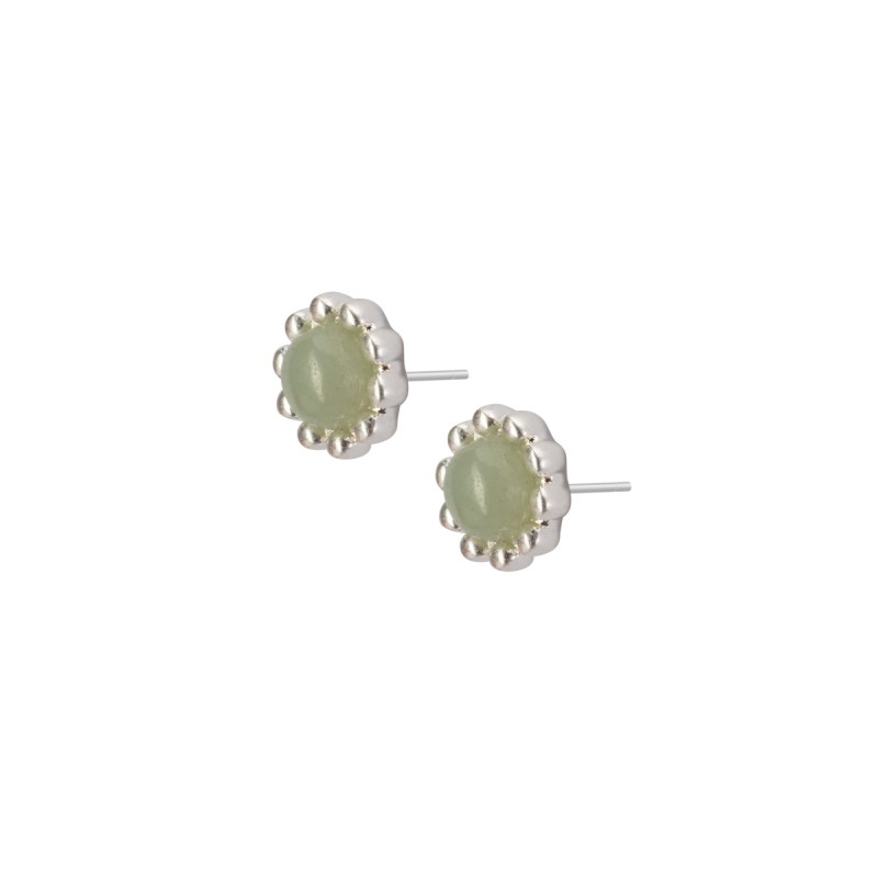 Ombre stud earrings with amazonite in silver