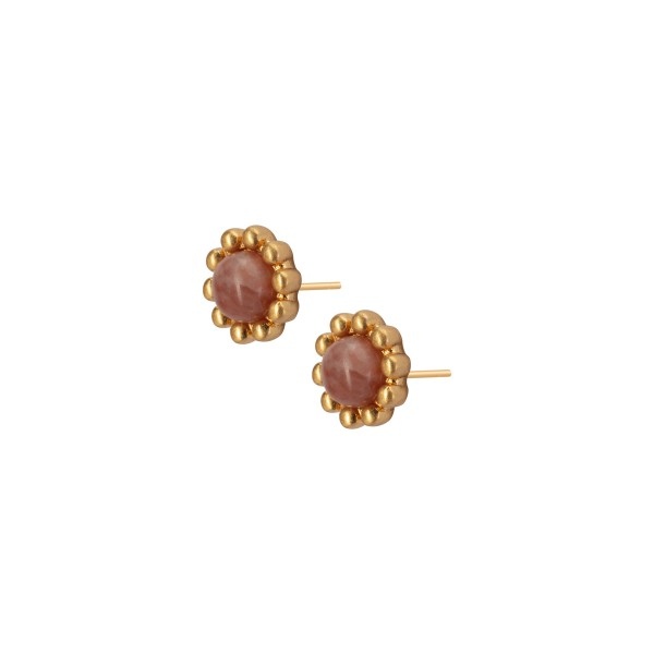 Ombre stud earrings with pink opal in gold