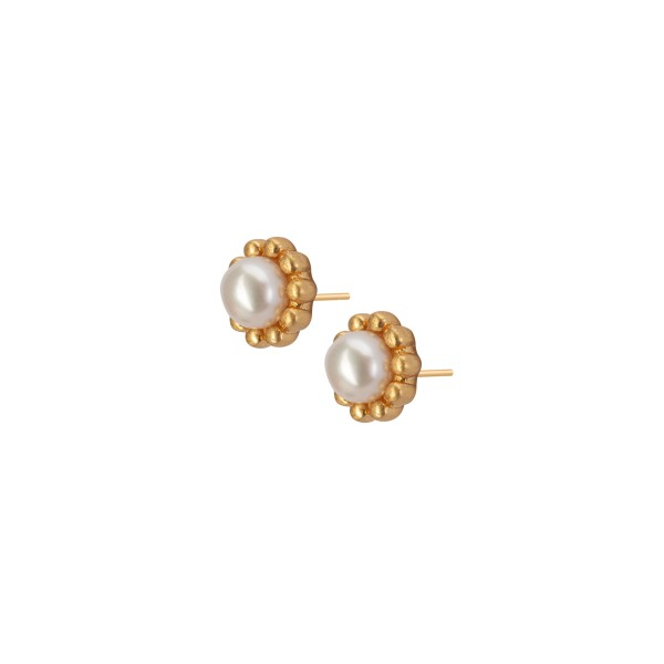 Ombre stud earrings with pearls in gold
