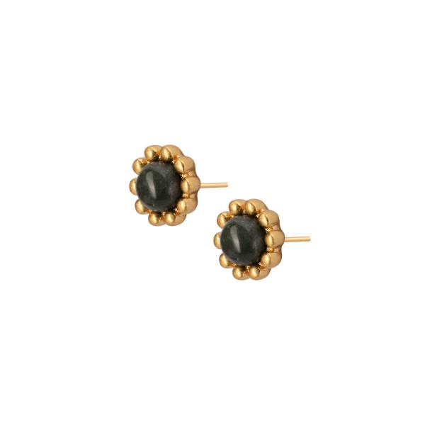 Ombre stud earrings w. silver leaf jasper in gold
