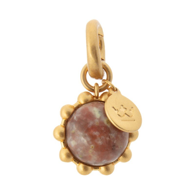 Ombre charm with pink opal in gold