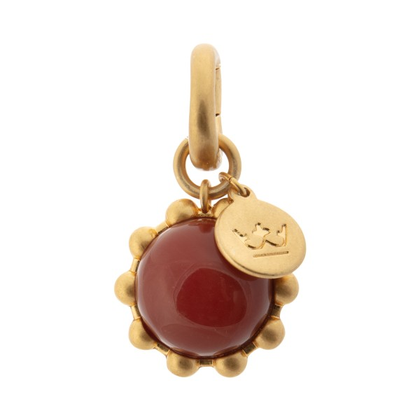 Ombre charm with red agate in gold