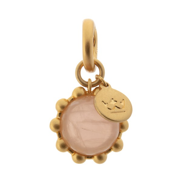 Ombre charm with rose quartz in gold