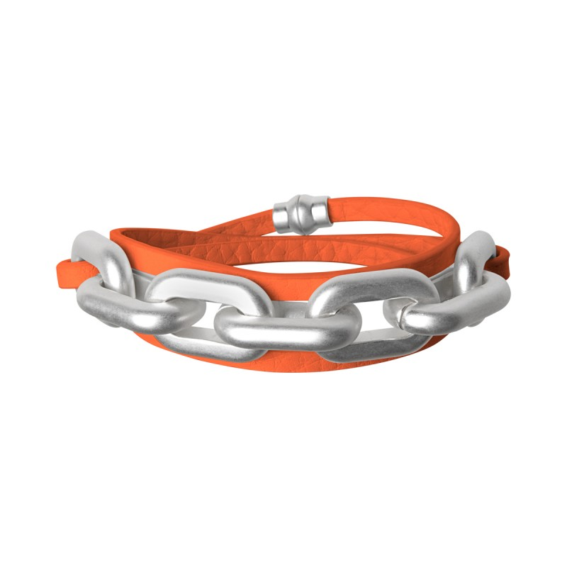 Lighthouse wrap bracelet in silver and modern ruby leather