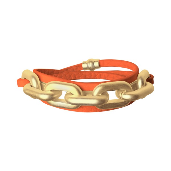 Lighthouse wrap bracelet in gold and modern ruby leather