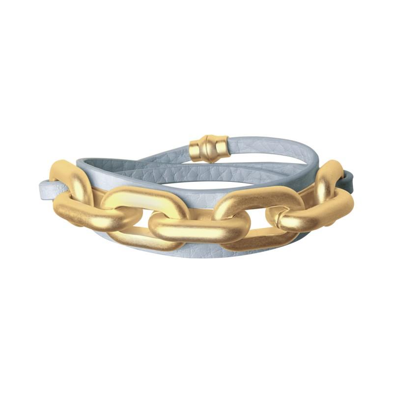 Lighthouse wrap bracelet in baby boy blue gold