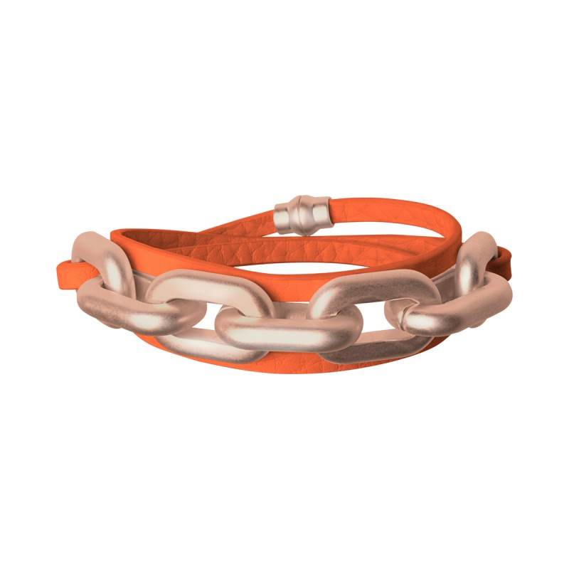 Lighthouse wrap bracelet in rose gold and modern ruby leather