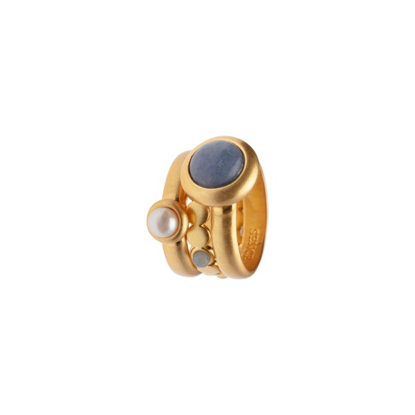 Lantern stacked rings w/natural stones in gold 7