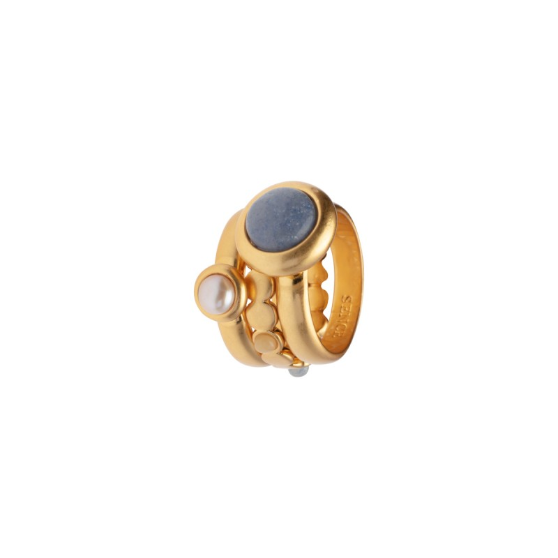 Lantern stacked rings w/natural stones in gold 8
