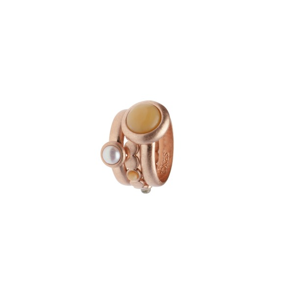 Lantern stacked rings w/natural stones rose gold 7
