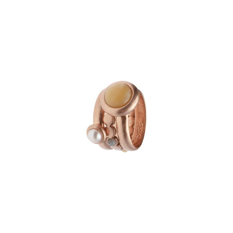 Lantern stacked rings w/natural stones rose gold 8