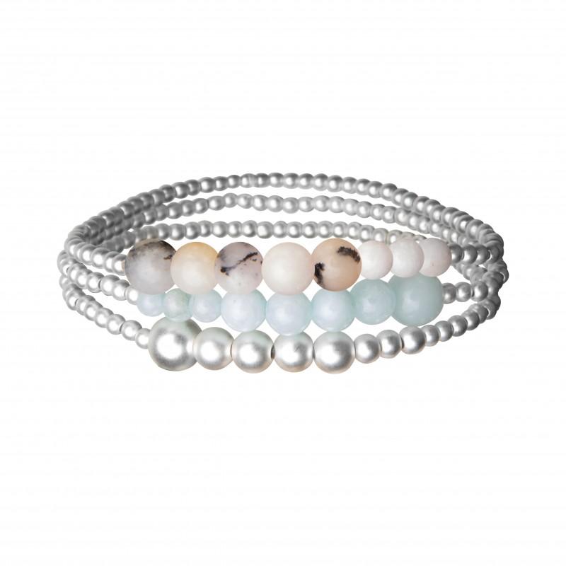 Serenity stack bracelet w pink opal and aquamarine