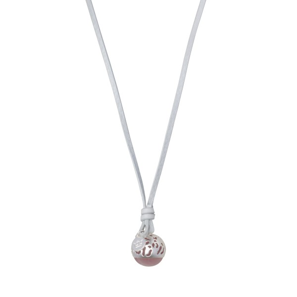 Flora charm with leather necklace - matt silver