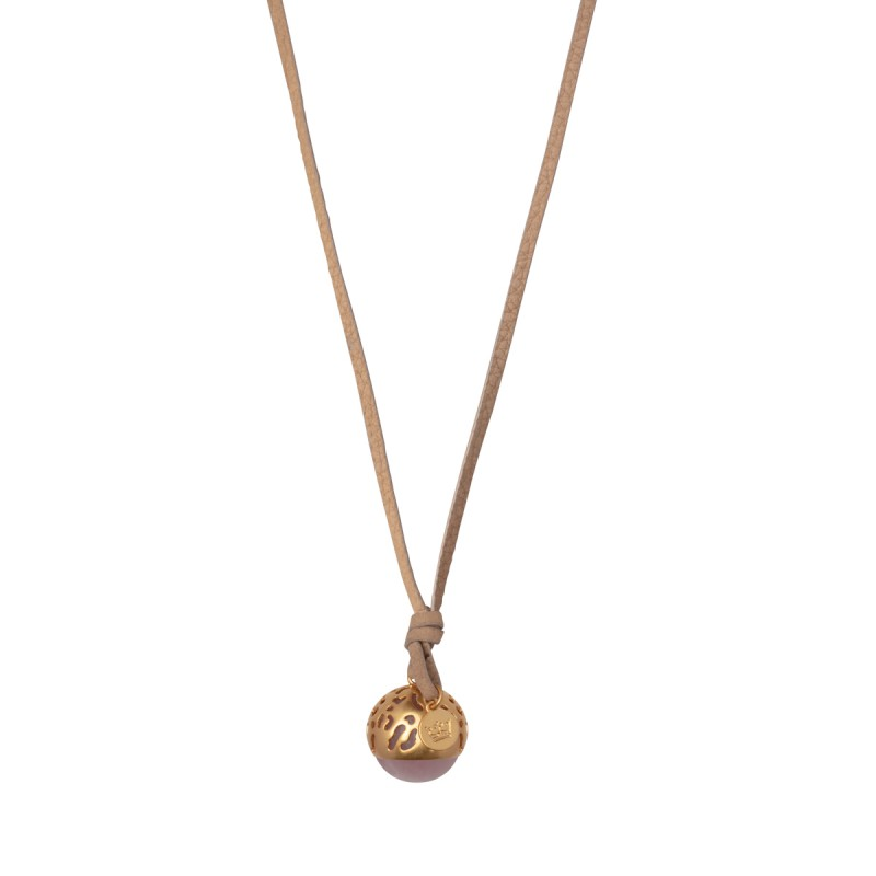 Flora charm with leather necklace - matt gold