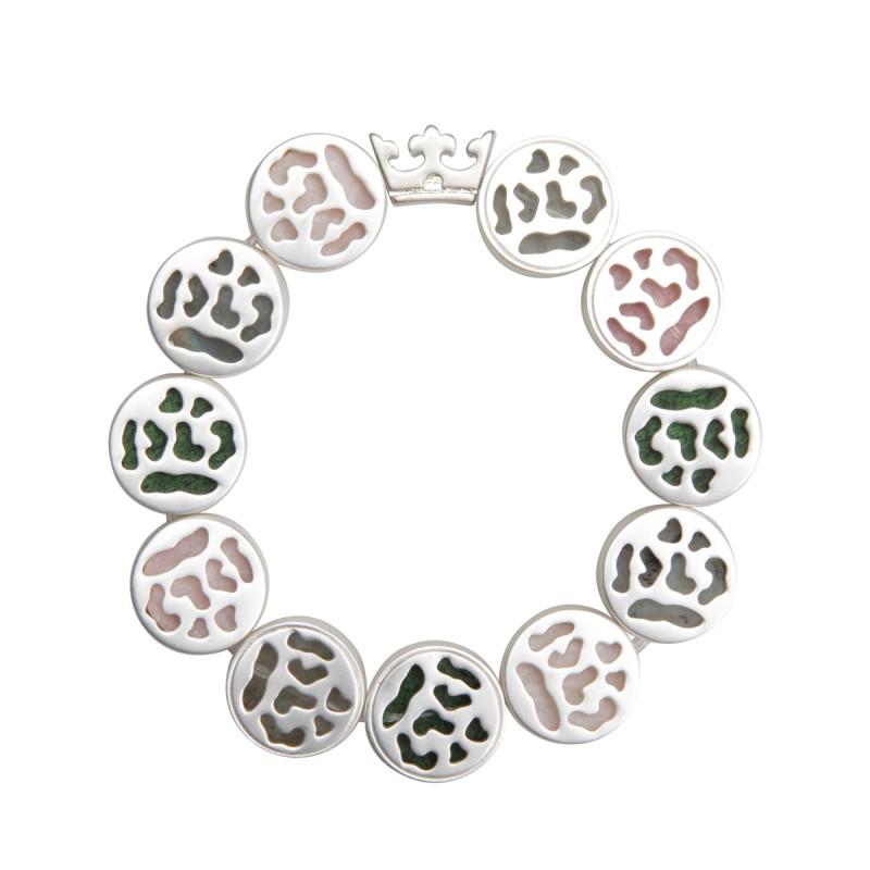 Flora bracelet with natural stones - matt silver