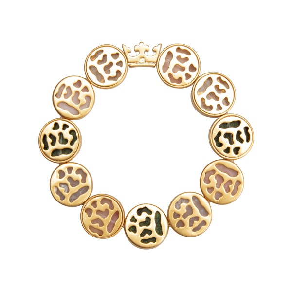 Flora bracelet with natural stones - matt gold